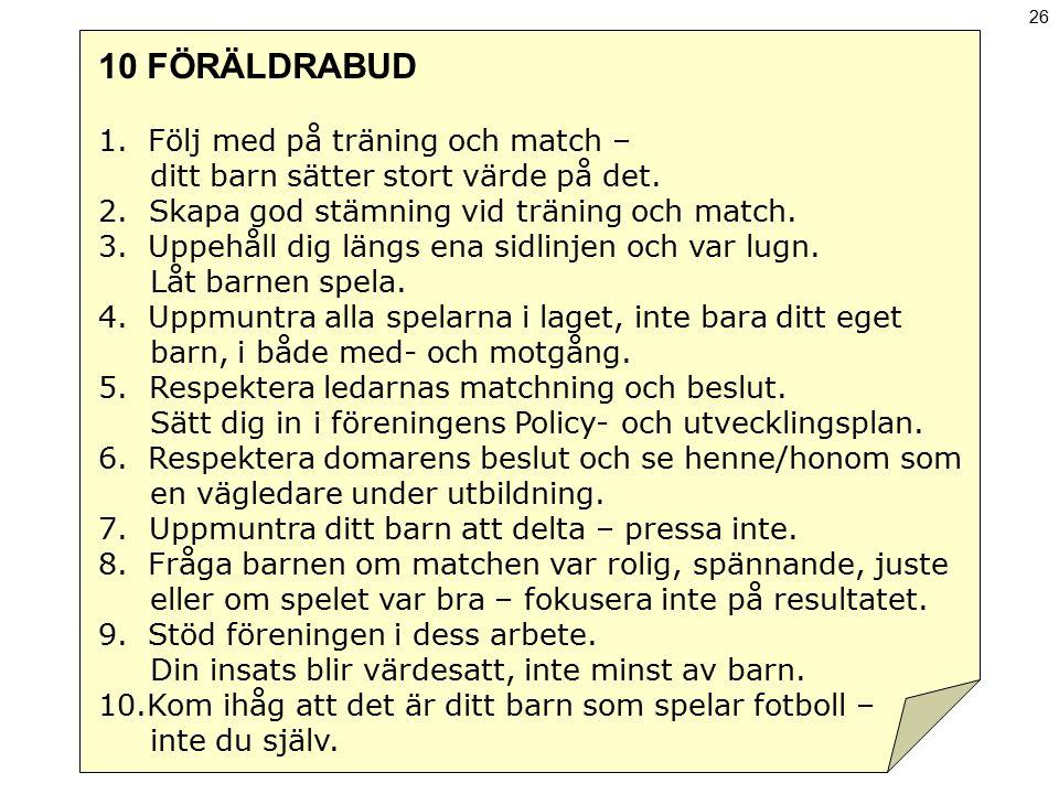 10 FÖRÄLDRABUD Följ med på träning och match –