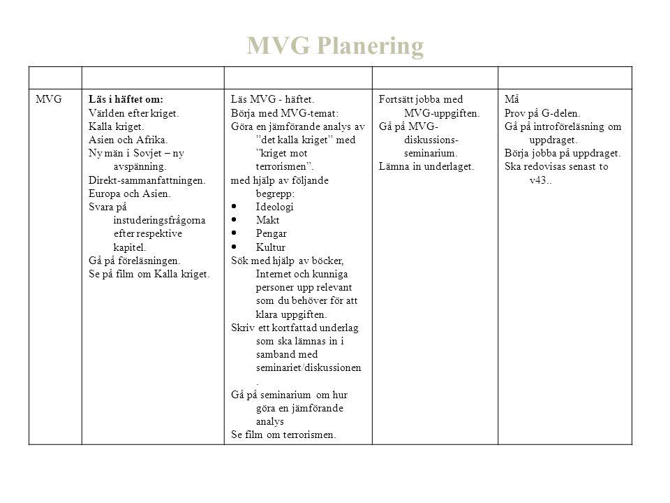 MVG Planering Vecka 39 40 41 42 MVG Läs i häftet om: