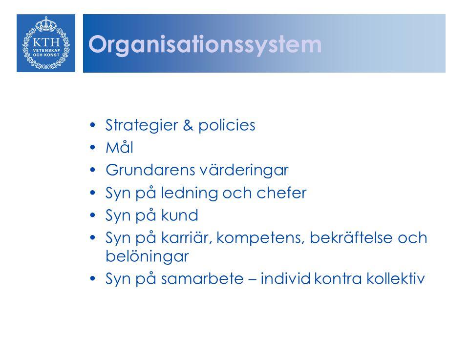 Organisationssystem Strategier & policies Mål Grundarens värderingar