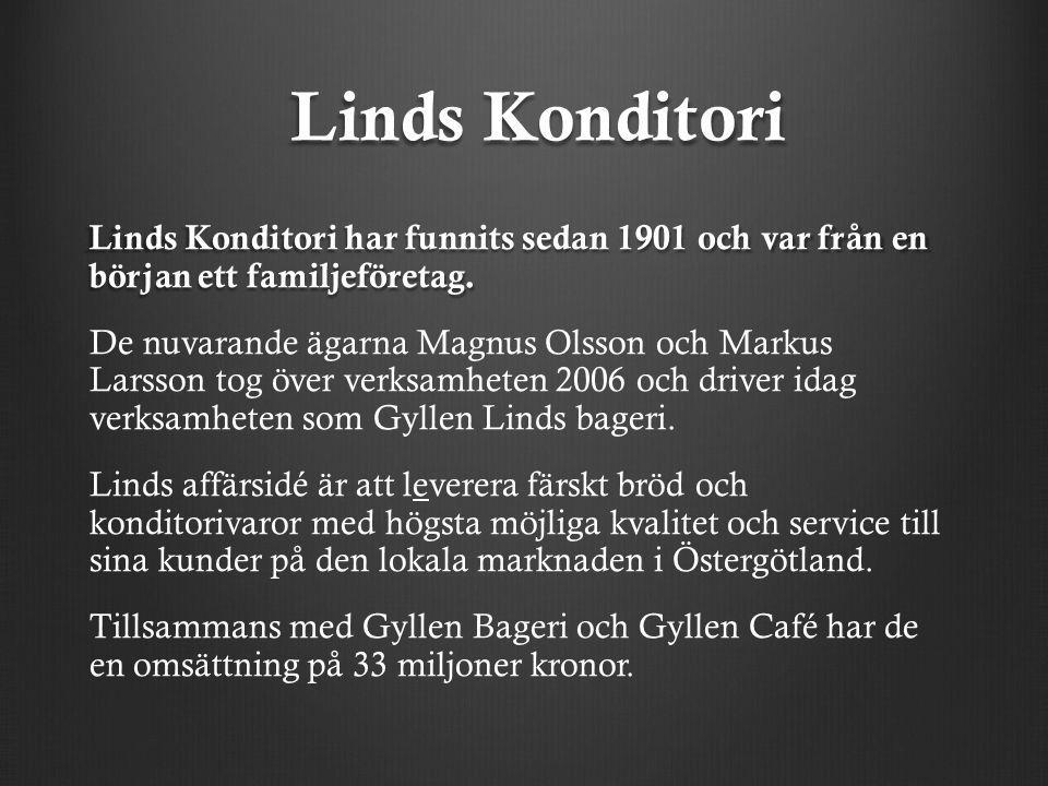 Linds Konditori Linds Konditori har funnits sedan 1901 och var från en början ett familjeföretag.