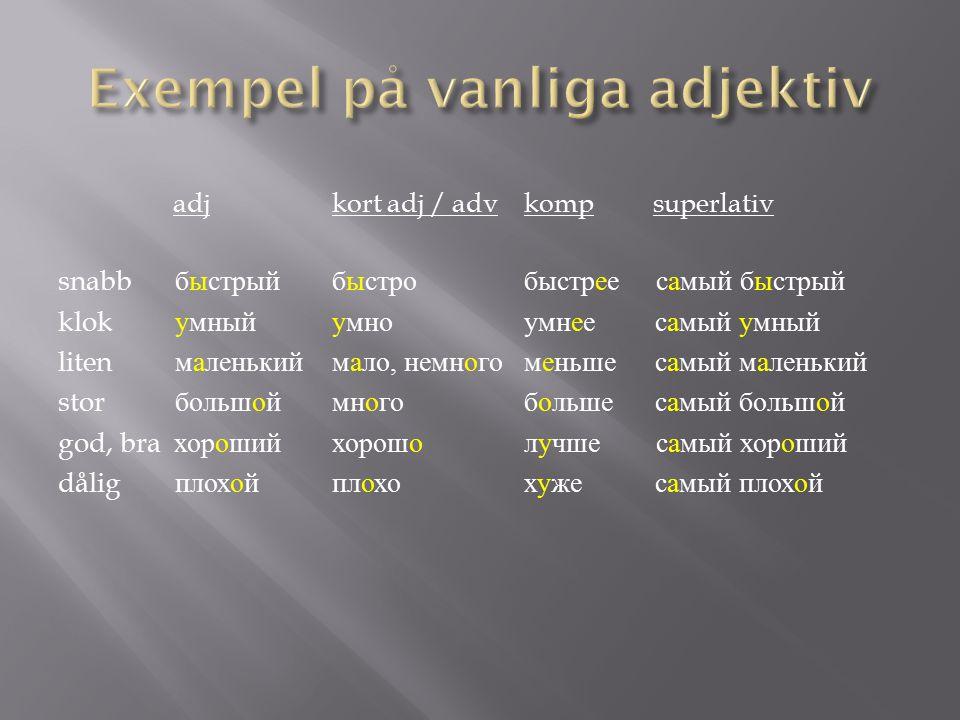 Exempel på vanliga adjektiv