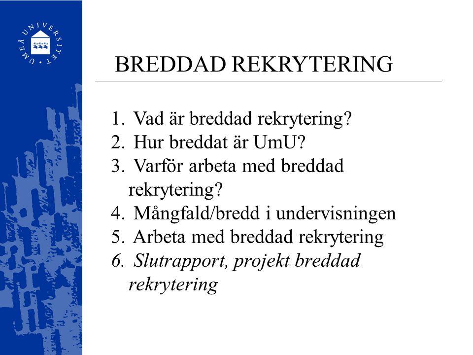 BREDDAD REKRYTERING Vad är breddad rekrytering Hur breddat är UmU