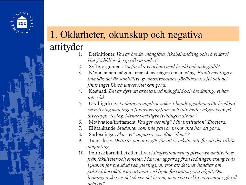 1. Oklarheter, okunskap och negativa attityder