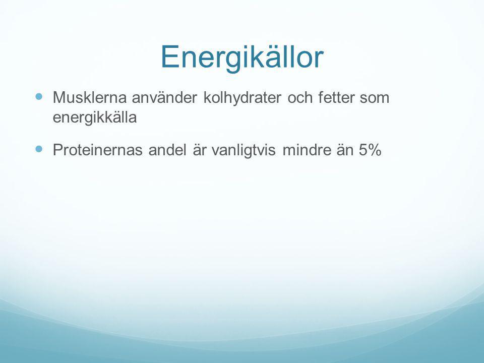 Energikällor Musklerna använder kolhydrater och fetter som energikkälla.
