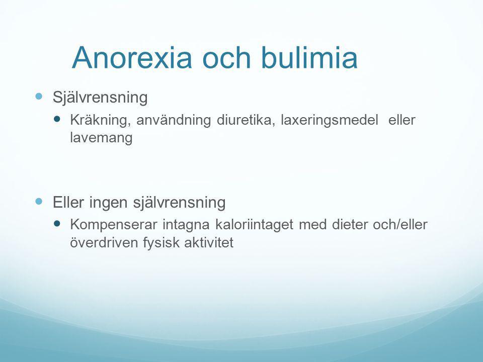Anorexia och bulimia Självrensning Eller ingen självrensning