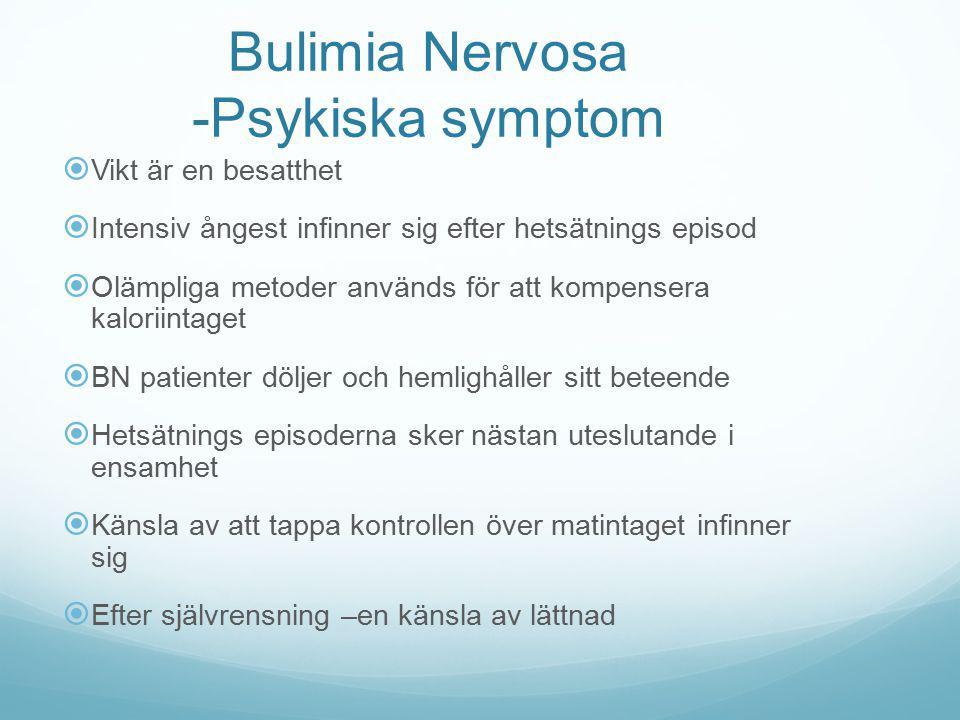 Bulimia Nervosa -Psykiska symptom