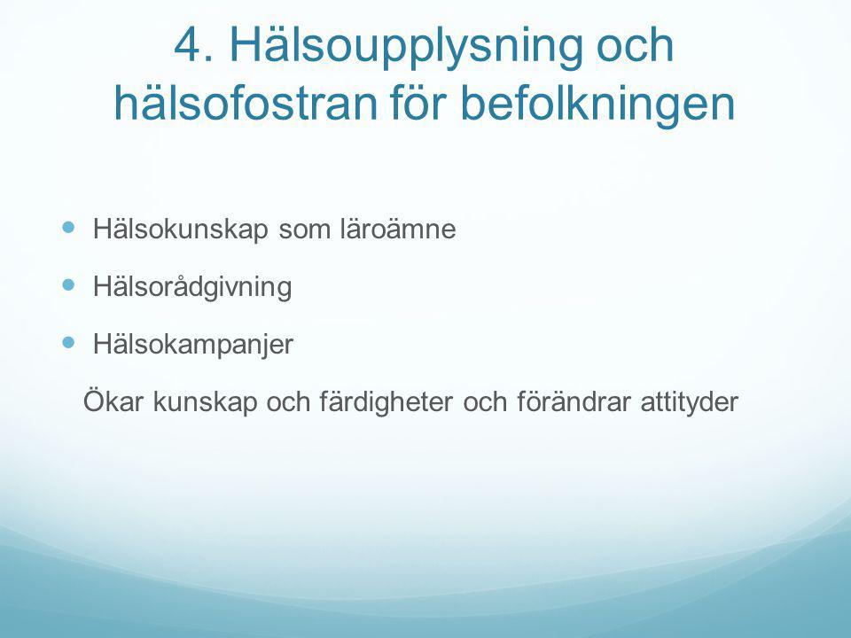 4. Hälsoupplysning och hälsofostran för befolkningen