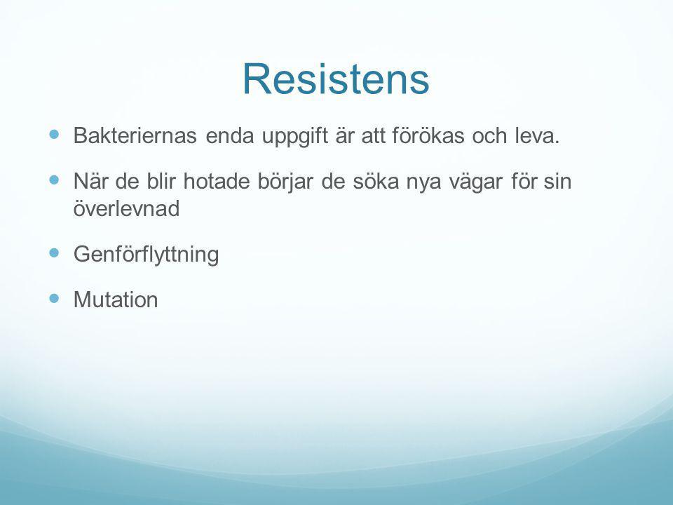 Resistens Bakteriernas enda uppgift är att förökas och leva.