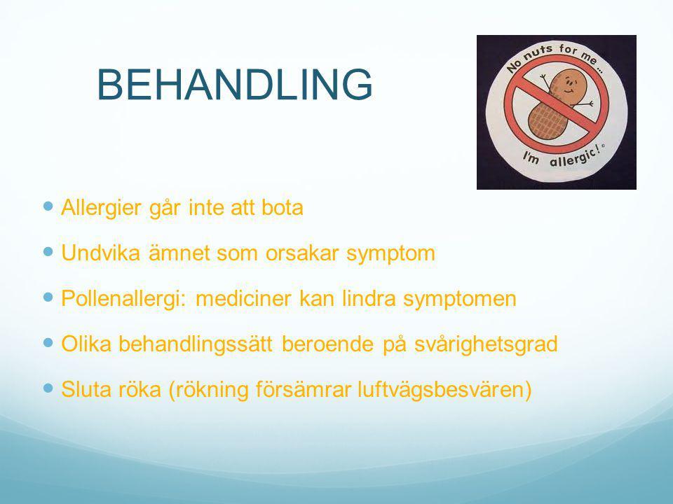 BEHANDLING Allergier går inte att bota