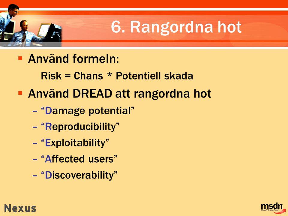 6. Rangordna hot Använd formeln: Använd DREAD att rangordna hot