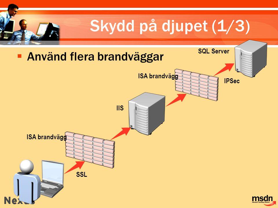 Skydd på djupet (1/3) Använd flera brandväggar SQL Server