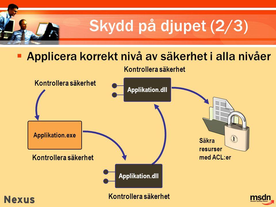 Skydd på djupet (2/3) Applicera korrekt nivå av säkerhet i alla nivåer