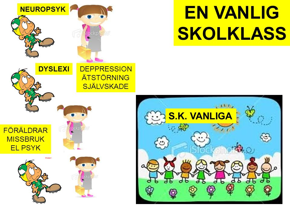 EN VANLIG SKOLKLASS S.K. VANLIGA NEUROPSYK DYSLEXI DEPPRESSION
