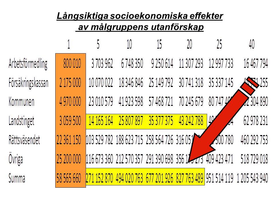Långsiktiga socioekonomiska effekter av målgruppens utanförskap
