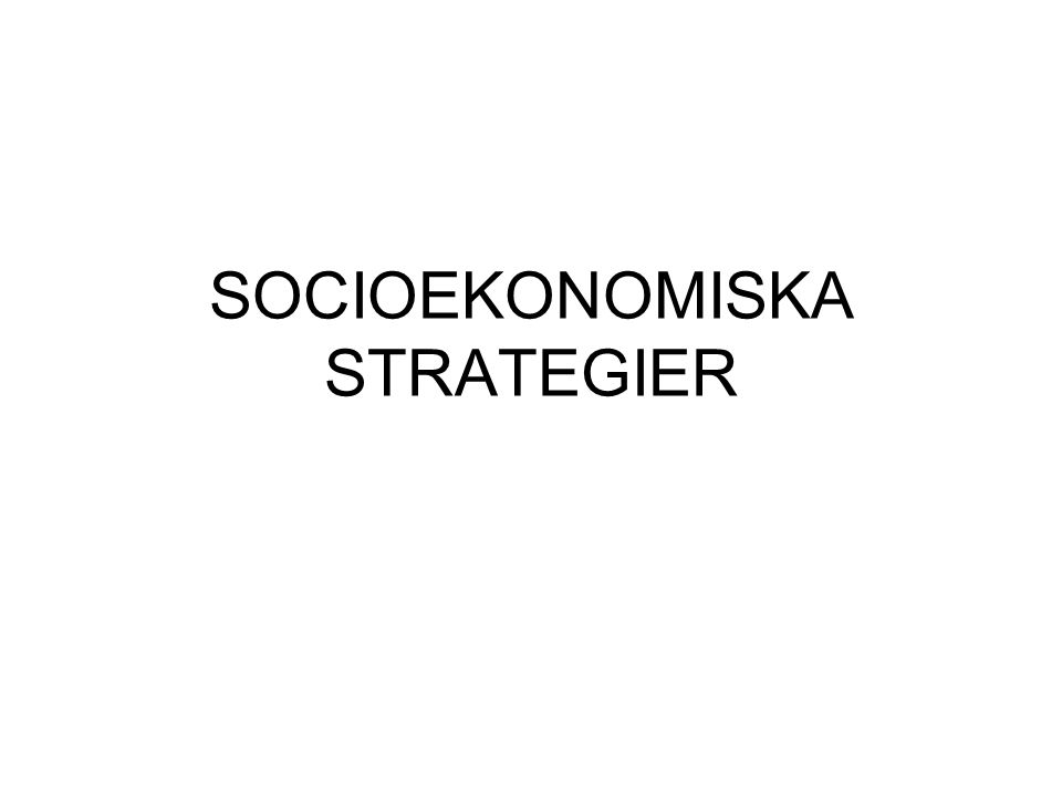 SOCIOEKONOMISKA STRATEGIER