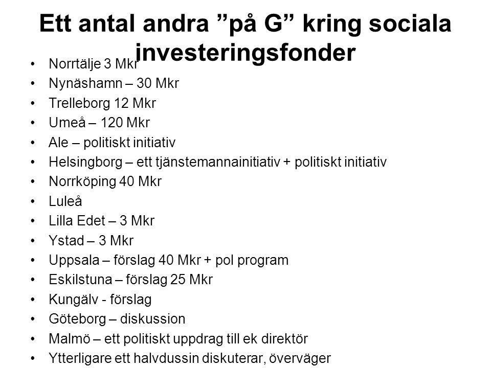 Ett antal andra på G kring sociala investeringsfonder