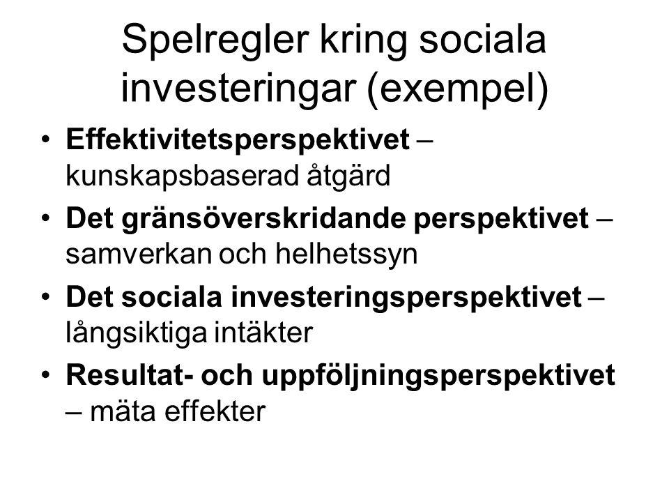 Spelregler kring sociala investeringar (exempel)