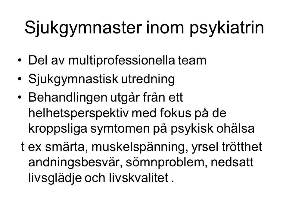 Sjukgymnaster inom psykiatrin