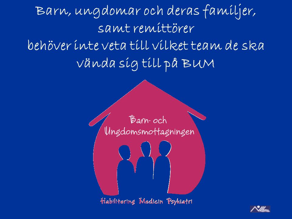 Barn, ungdomar och deras familjer, samt remittörer behöver inte veta till vilket team de ska vända sig till på BUM