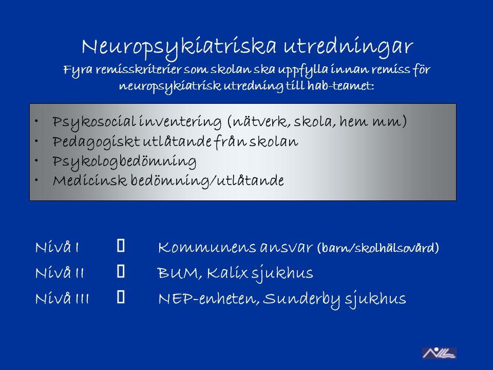 Neuropsykiatriska utredningar Fyra remisskriterier som skolan ska uppfylla innan remiss för neuropsykiatrisk utredning till hab-teamet: