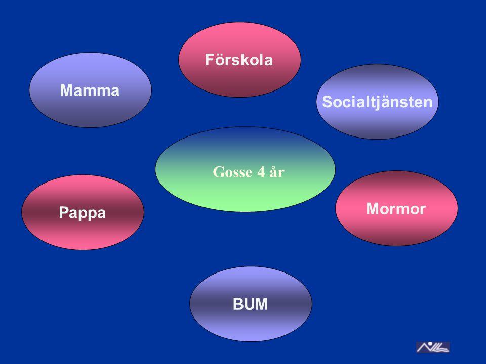 Förskola Mamma Socialtjänsten Gosse 4 år Mormor Pappa BUM