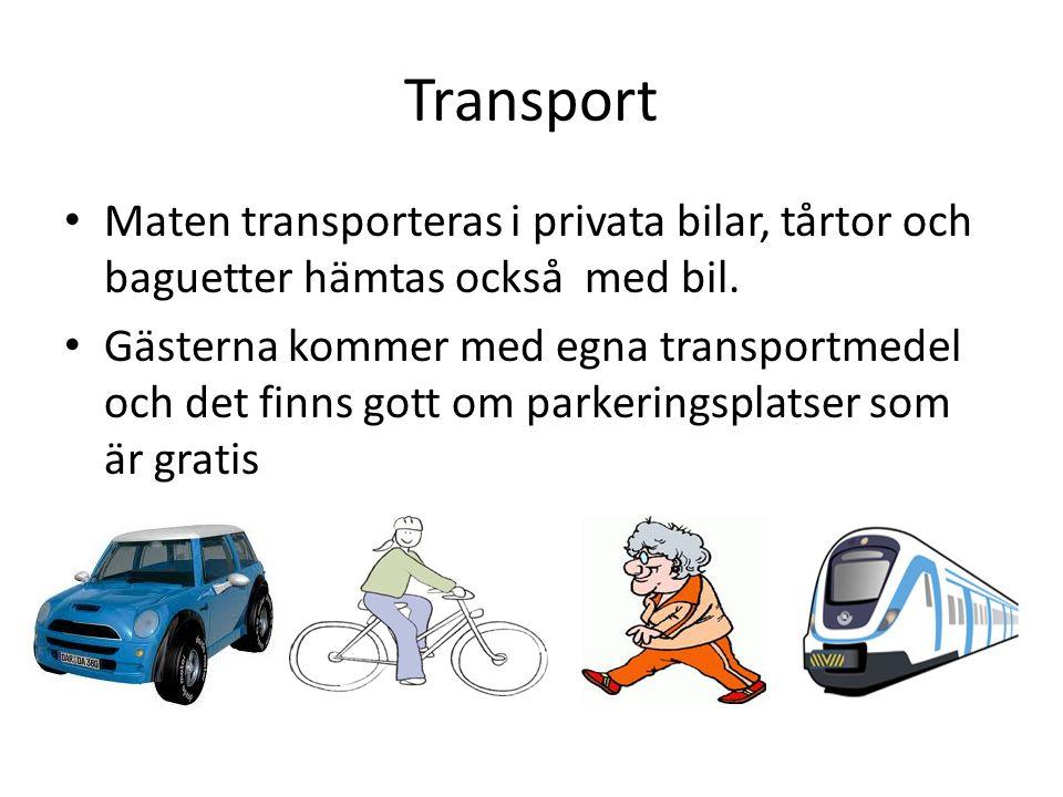 Transport Maten transporteras i privata bilar, tårtor och baguetter hämtas också med bil.