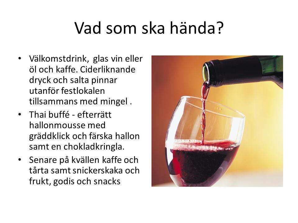 Vad som ska hända Välkomstdrink, glas vin eller öl och kaffe. Ciderliknande dryck och salta pinnar utanför festlokalen tillsammans med mingel .