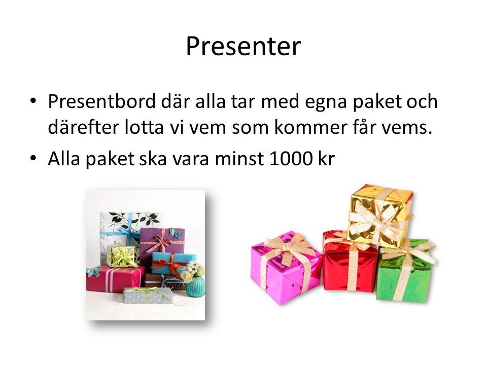 Presenter Presentbord där alla tar med egna paket och därefter lotta vi vem som kommer får vems.