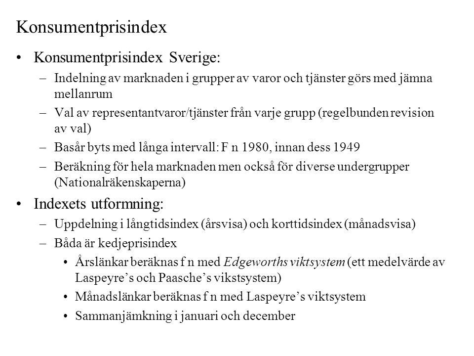 Konsumentprisindex Konsumentprisindex Sverige: Indexets utformning:
