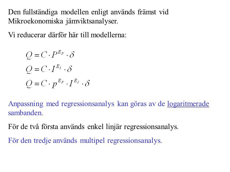 Den fullständiga modellen enligt används främst vid Mikroekonomiska jämviktsanalyser.