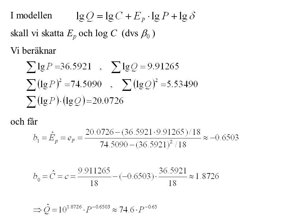 I modellen skall vi skatta Ep och log C (dvs 0 ) Vi beräknar och får