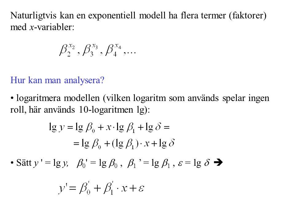 Naturligtvis kan en exponentiell modell ha flera termer (faktorer) med x-variabler: