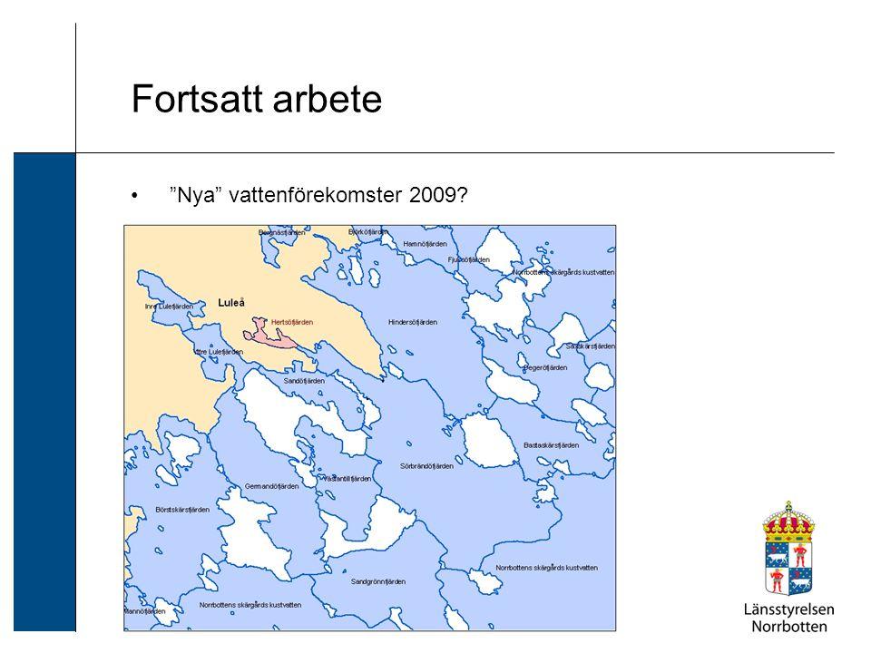 Fortsatt arbete Nya vattenförekomster 2009