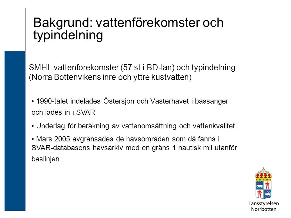 Bakgrund: vattenförekomster och typindelning