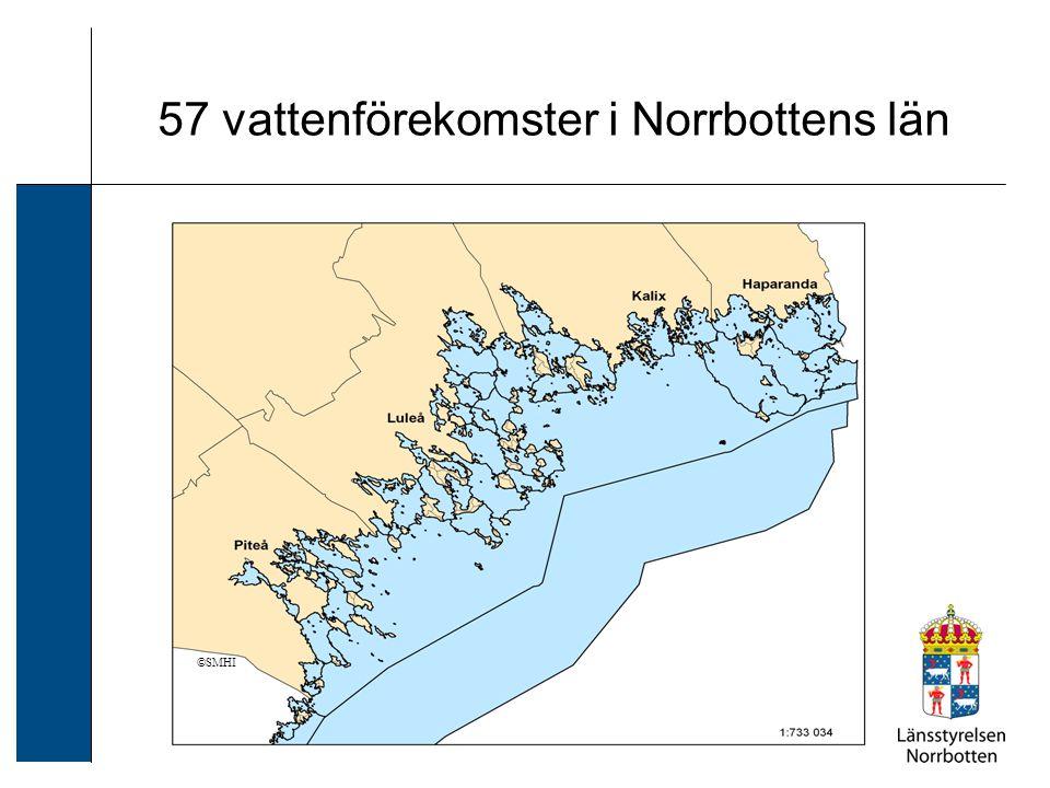 57 vattenförekomster i Norrbottens län