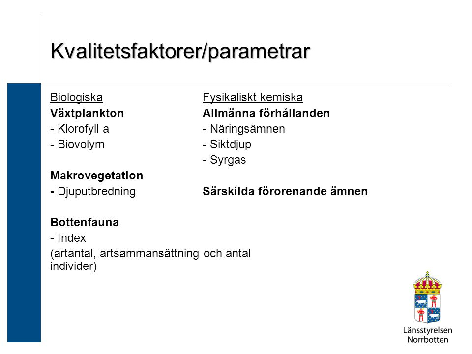 Kvalitetsfaktorer/parametrar