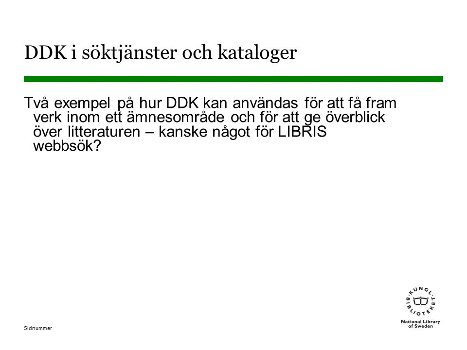 DDK i söktjänster och kataloger