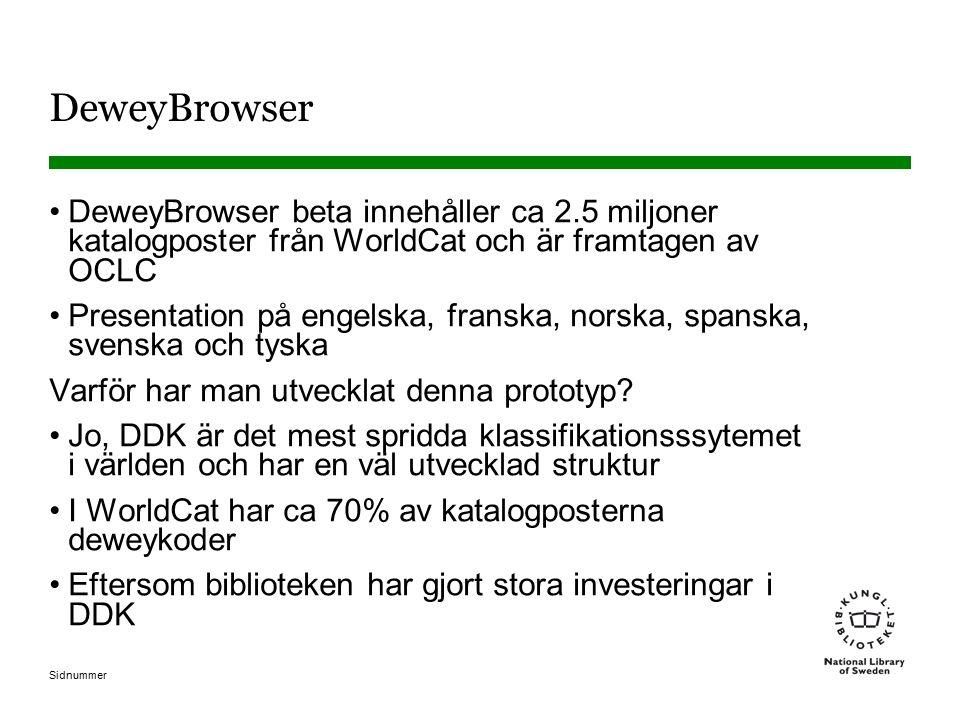 DeweyBrowser DeweyBrowser beta innehåller ca 2.5 miljoner katalogposter från WorldCat och är framtagen av OCLC.