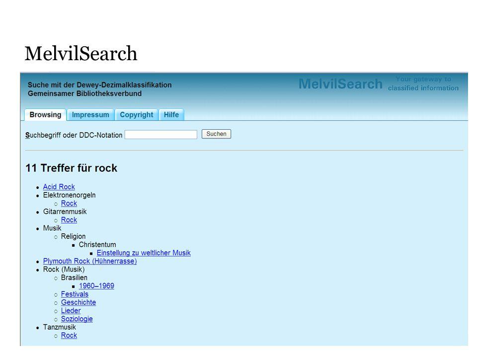 MelvilSearch Man kan också söka på ord i systemet, även på de termer som ingår i indexet som här Rock.