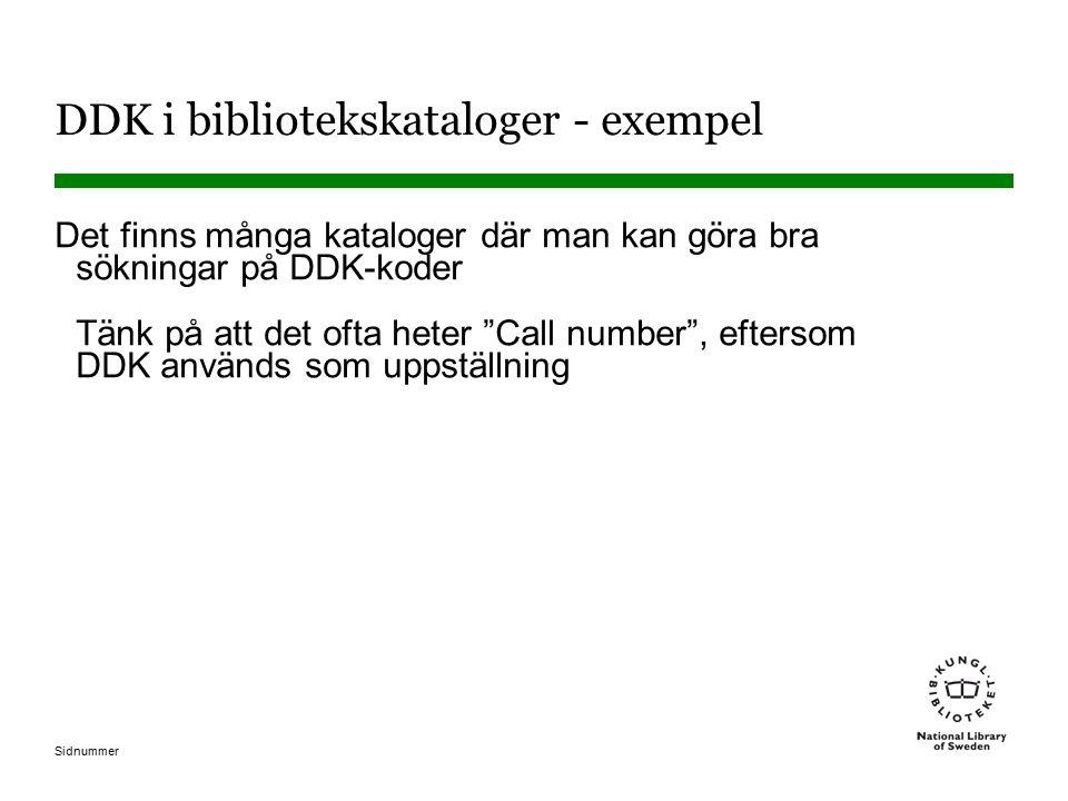 DDK i bibliotekskataloger - exempel