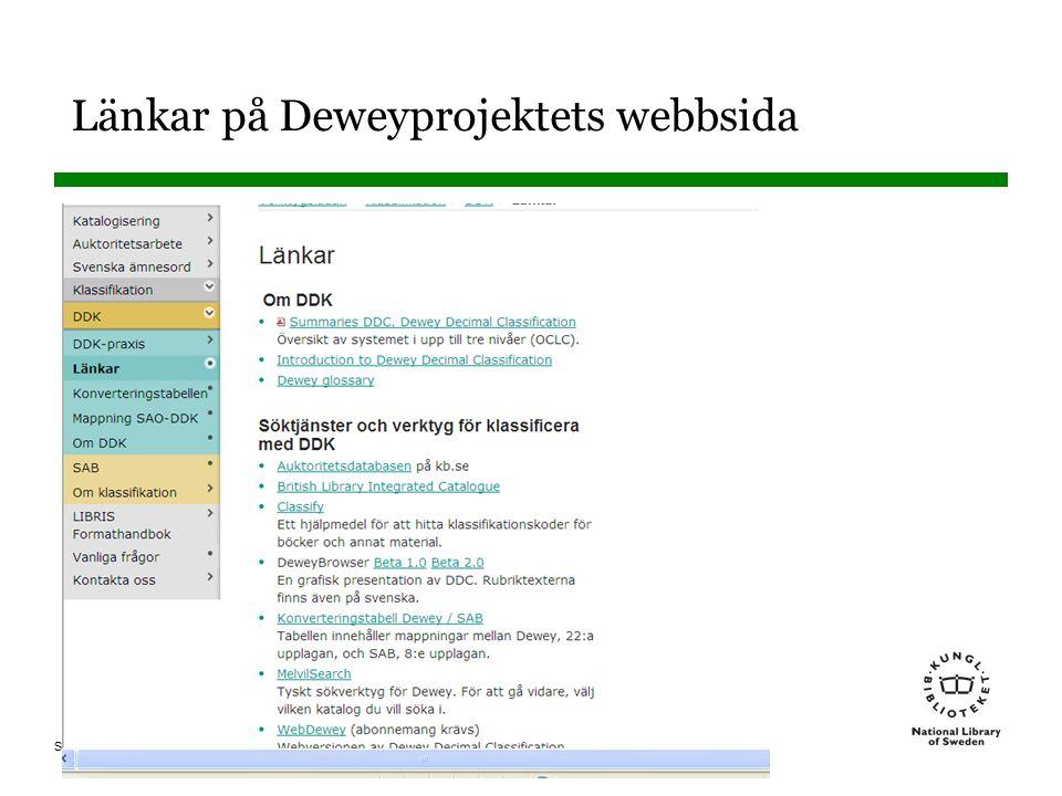 Länkar på Deweyprojektets webbsida
