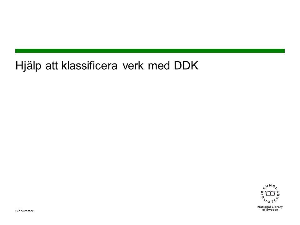 Hjälp att klassificera verk med DDK