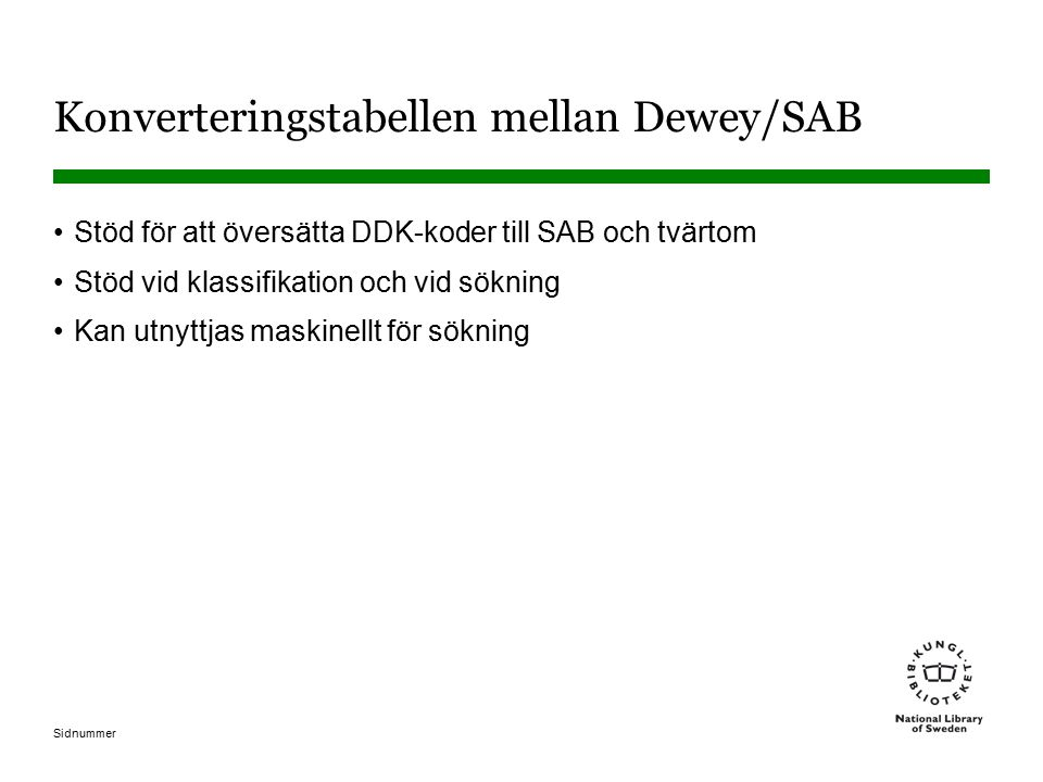 Konverteringstabellen mellan Dewey/SAB