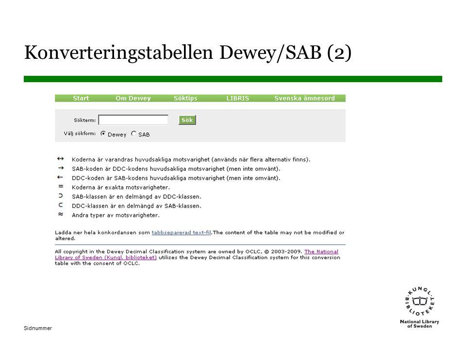 Konverteringstabellen Dewey/SAB (2)