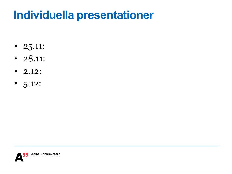 Individuella presentationer