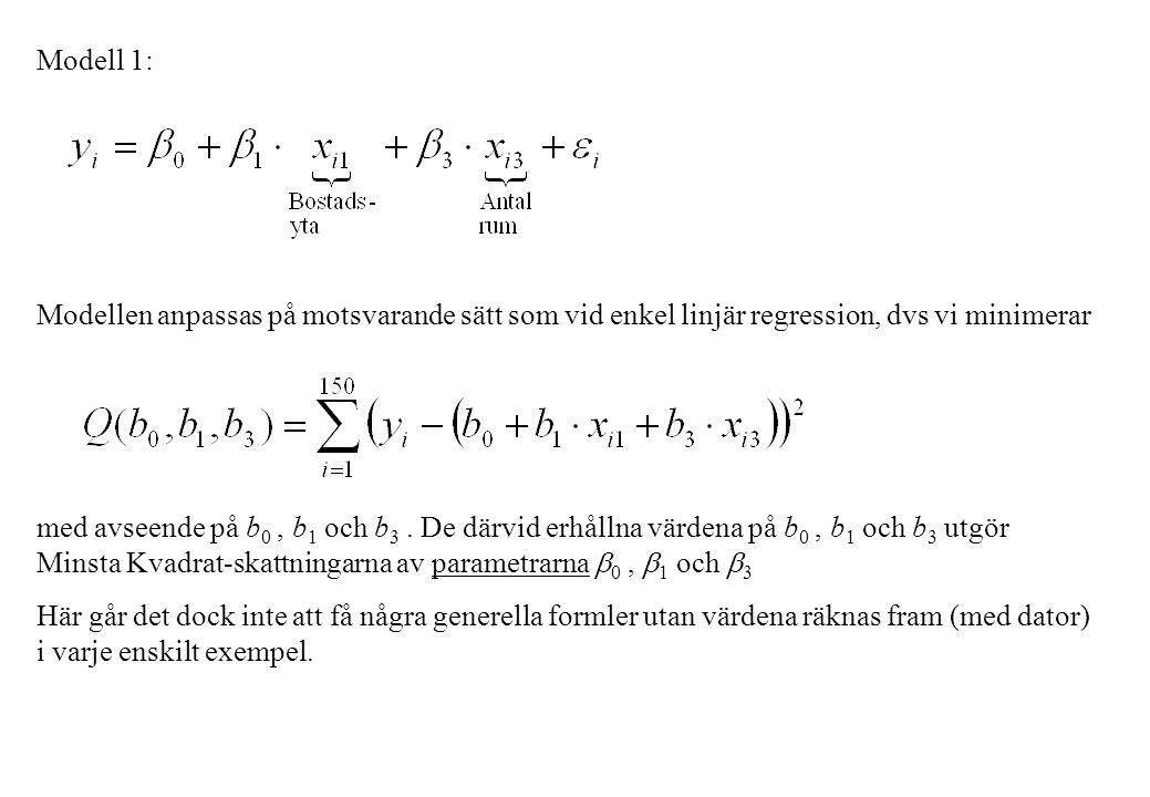 Modell 1: Modellen anpassas på motsvarande sätt som vid enkel linjär regression, dvs vi minimerar.