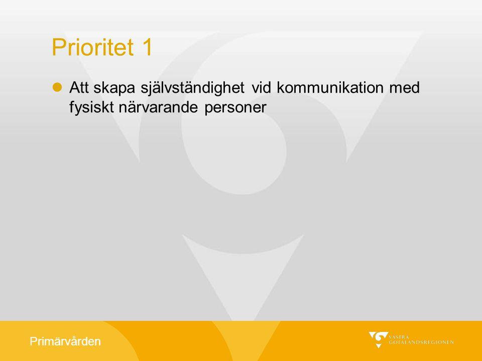 Prioritet 1 Att skapa självständighet vid kommunikation med fysiskt närvarande personer