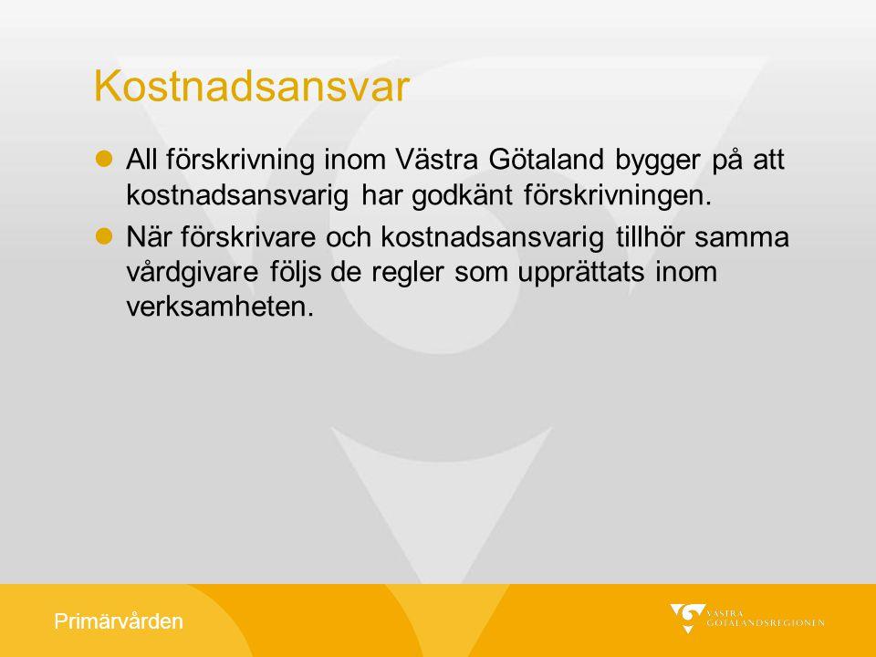 Kostnadsansvar All förskrivning inom Västra Götaland bygger på att kostnadsansvarig har godkänt förskrivningen.