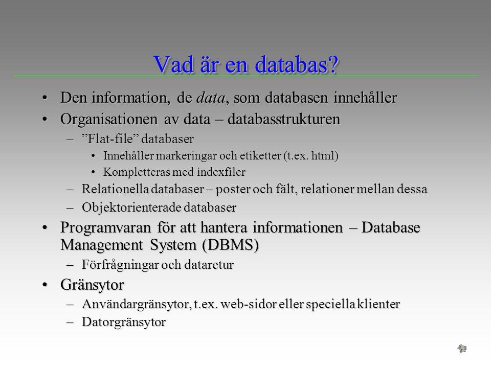 Vad är en databas Den information, de data, som databasen innehåller