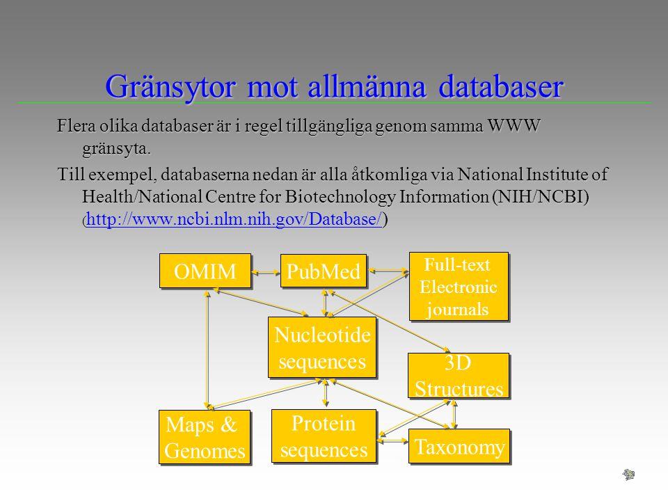 Gränsytor mot allmänna databaser